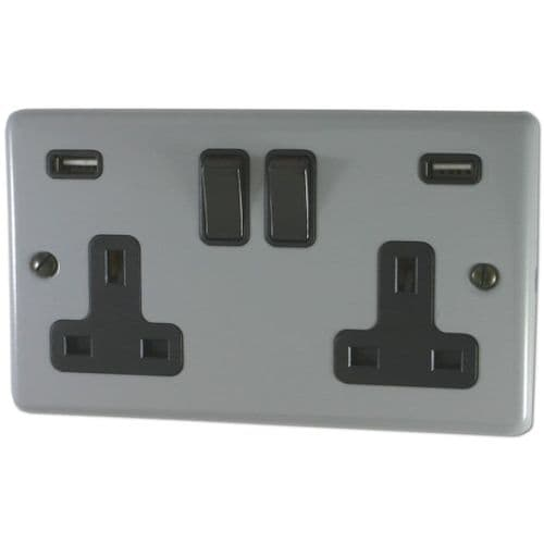 G&H CLG910B Standard Plate Light Grey 2 Gang Double 13A Switched Plug Socket 2.1A USB